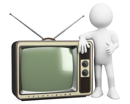 watch video: 3d white person with a retro television. 3d image. Isolated white background.