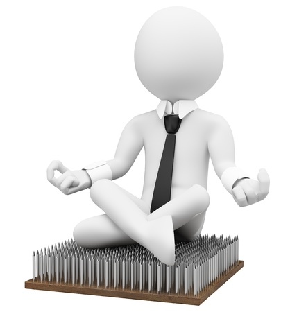 concentration: 3d white business person sitting on a fakir platform with nail. 3d image. Isolated white background.