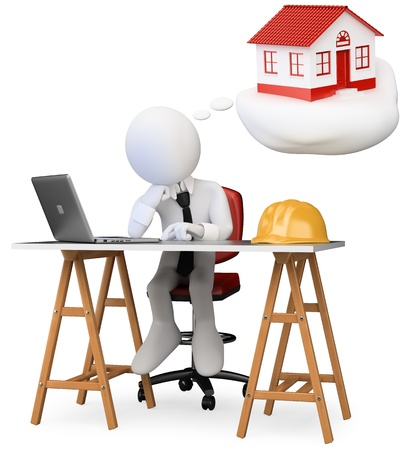 3d white business person dreaming in his office with his new home with a computer on the table. 3d image. Isolated white background.  Stock Photo