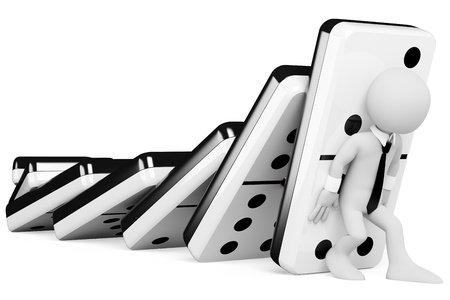 3d bianco uomo d'affari cercando di fermare le tessere del domino che cadono a catena. Immagine 3D. Isolato su sfondo bianco.