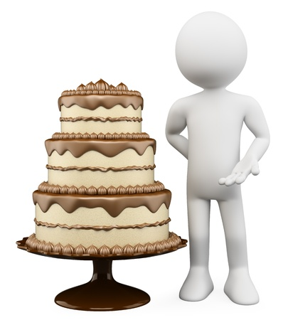 vanilla cake: 3d white person with a huge cake with chocolate and biscuit. 3d image. Isolated white background.