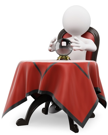 psychic: Persona 3d blanco con una bola de cristal en una mesa sentado en una silla vieja 3d fondo blanco aislado Foto de archivo