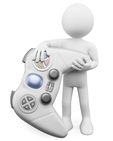 gaming: 3d white person with a huge wireless controller  3d image  Isolated white background