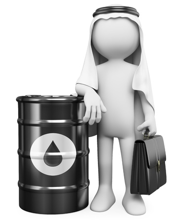 fuels: 3d white business person with a barrel of oil turban and a briefcase  3d image  Isolated white background