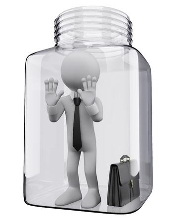 frasco: 3d persona de negocios blanco en el interior de un tarro de cristal en r�gimen de incomunicaci�n imagen 3d fondo blanco aislado