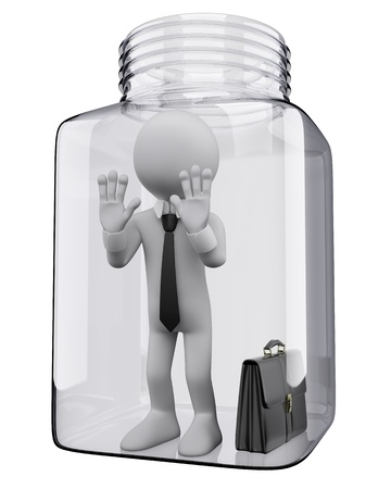 3d white business person inside a glass jar incommunicado  3d image  Isolated white background   photo