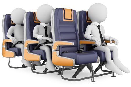 passenger airline: 3d white business persons in a plane with the seat belt fastened, one working with a laptop  3d image  Isolated white background  Stock Photo