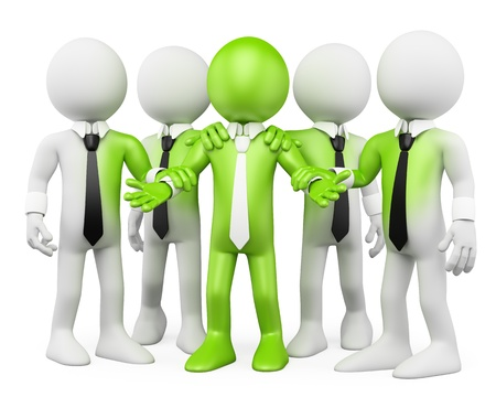 team leader: 3d white business persons with green feeling  3d image  Isolated white background