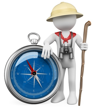 3d white person with a compass, a staff, binoculars and a explorer hat  3d image  Isolated white background   photo