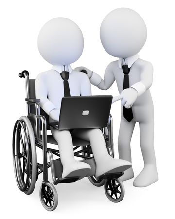 workteam: 3d white disabled business person with a laptop on his legs, working with a workmate    3d image  Isolated white background