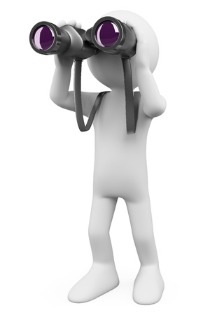 conclusion: Persona blanca 3d mirando a través de los prismáticos en busca de algo. Imagen en 3D. Aislado fondo blanco. Foto de archivo