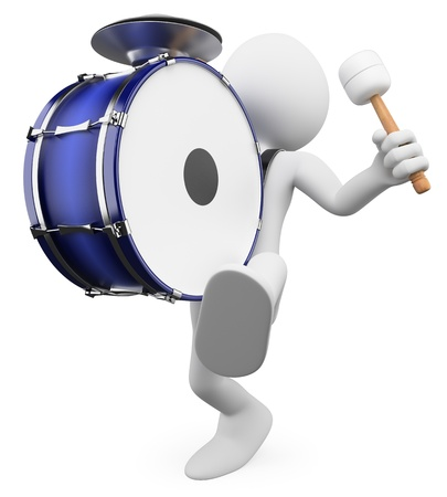 3d white person marching and playing the drum. 3d image. Isolated white background.  photo