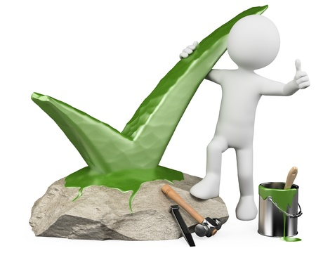 3d white person carving in stone a tick and with thumb up. 3d image. Isolated white background.