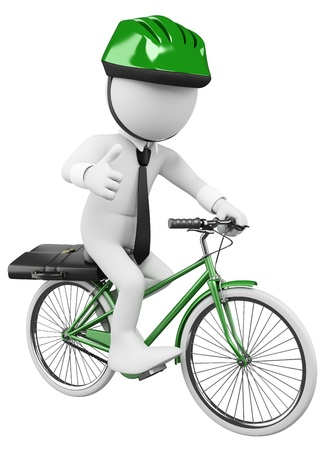 executive helmet: 3d white business person going to work in a green bicycle with safety helmet. 3d image. Isolated white background.