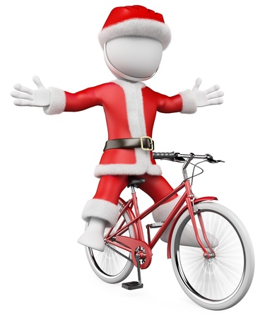 3d santa claus on bike with a helmet  3d image  Isolated white background Stock Photo - 16600797