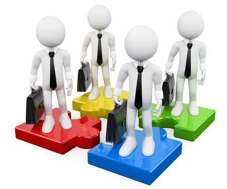 3d white business persons on puzzle pieces of different colors  3d image  Isolated white background   photo
