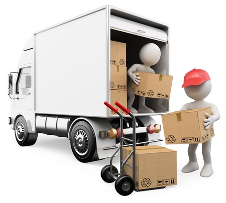 moving truck: 3d white persons unloading boxes from a truck to a hand truck  3d image  Isolated white background  Stock Photo