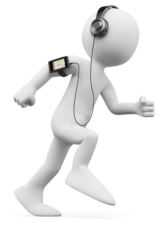 3d weiße Person Joggen mit einem Handy mit GPS und MP3 auf dem Arm 3D-Bild isoliert auf weißem Hintergrund