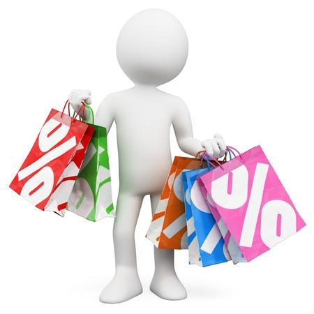 3d white person shopping in the sales  3d image  Isolated white background   photo