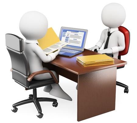 entrevista: 3d hombre de negocios blanco en una entrevista de trabajo con el currículo y el perfil de las redes sociales 3d imagen de fondo blanco aisladas