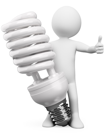 energy saving: 3d white person with a huge energy saver bulb  3d image  Isolated white background