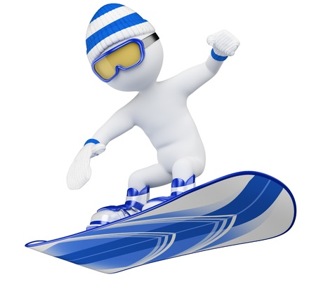 3d white snowboarder with goggles, wool cap, snow boots and gloves  3d image  Isolated white background  Stock Photo