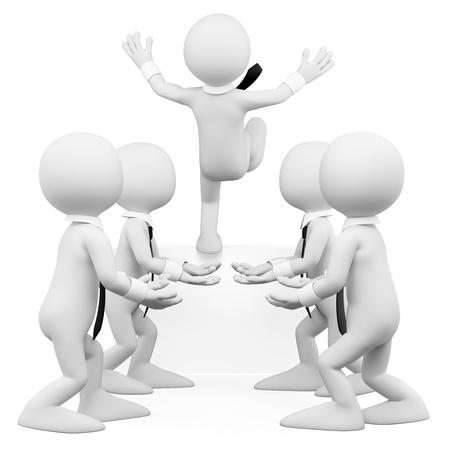 confianza concepto: 3d business blanco equipo de trabajo ayudando a un compa�ero de trabajo la imagen 3d fondo blanco aislado