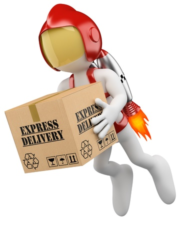 3d white rocket man with hard helmet delivering a express package  3d image  Isolated white background
