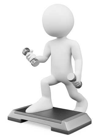 step fitness: 3d white person doing aerobics with weights and steps  3d image  Isolated white background