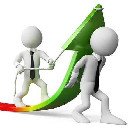 statistique: 3d les gens d'affaires blancs aidant � am�liorer les statistiques. 3d image. Isol� fond blanc.
