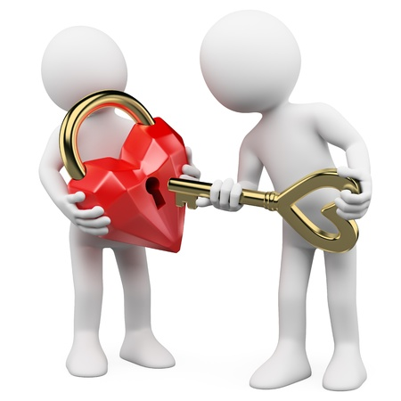 two hearts together: 3d white person with the key to her heart padlock. 3d image. Isolated white background.