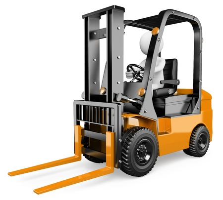 3d white person driving a forklift. 3d image. Isolated white background. photo