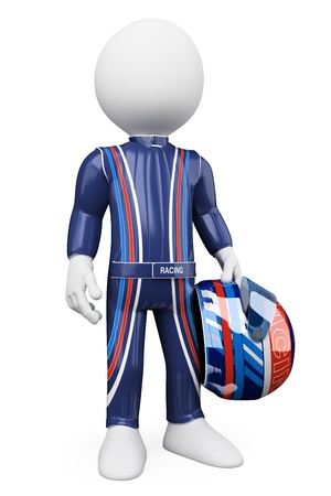 motorsport: 3d white person race driver with a racing helmet. 3d image. Isolated white background.