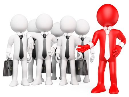 coworker: 3d white business person showing his business work team. 3d image. Isolated white background. Stock Photo