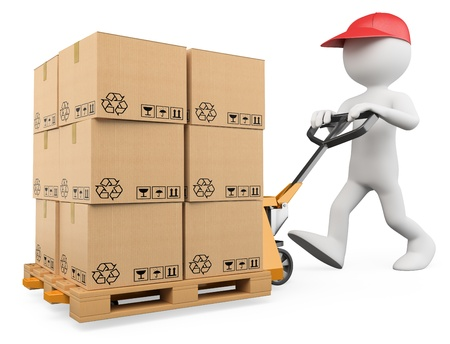 warehouse equipment: 3d white person pushing a pallet truck. 3d image. Isolated white background.