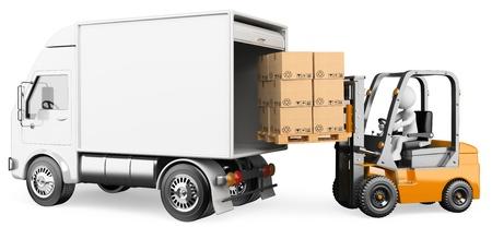 montacargas: Persona 3d blanco carga de un camión con una carretilla elevadora. Imagen en 3D. Aislado fondo blanco. Foto de archivo