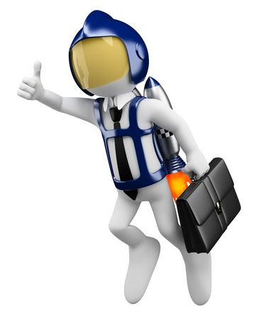 flight helmet: 3d white business person flying with a personal rocket in the back. 3d image. Isolated white background.