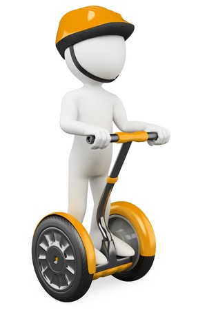 energy balance: 3d white person riding on a personal and ecological transport. 3d image. Isolated white background.
