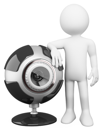 3d white person with a huge security cam. 3d image. Isolated white background.  photo