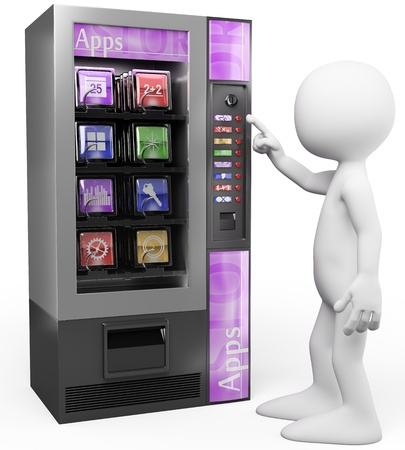 download music: 3d white person buying a mobile apps in a vending machine. 3d image. Isolated white background.  Stock Photo