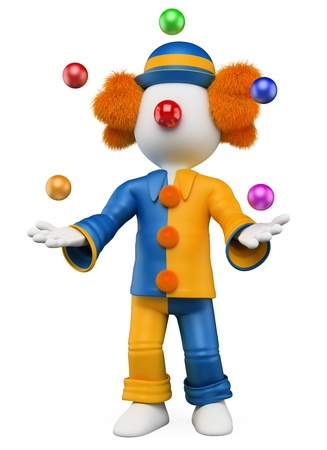 juggling: 3d white person clown juggling five balls. 3d image. Isolated white background.
