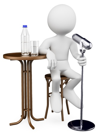 talk show: 3d white person comedian performing. 3d image. Isolated white background.