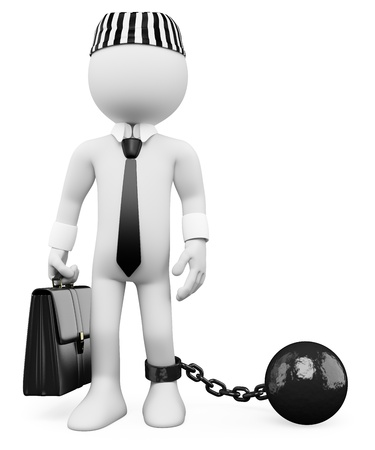 corrupcion: 3d político corrupto blanco arrastrando una bola de metal. Imagen en 3D. Aislado fondo blanco.