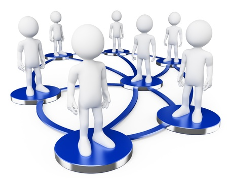 networking concept: 3d white persons in social networks . 3d image. Isolated white background.