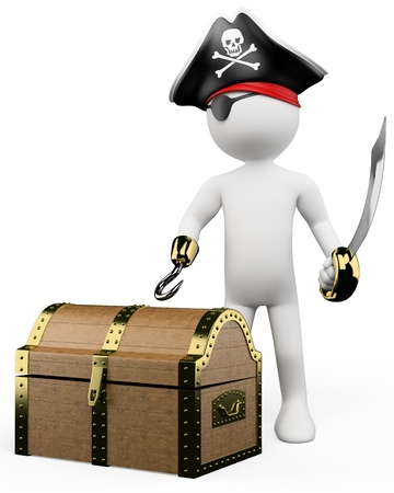 3d white pirate with eye patch sword hook and a treasure. 3d image. Isolated white background.  photo