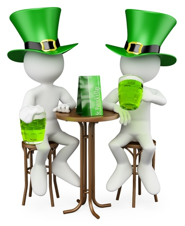 3d white persons celebrating St. Patricks day in a pub. 3d image. Isolated white background.  photo