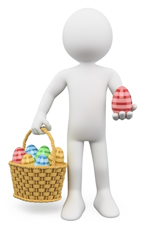 3d white person with a basket full of Easter eggs. 3d image. Isolated white background.  photo