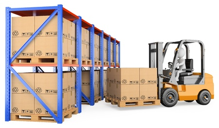 3d white person storing a pallet in a warehouse. 3d image. Isolated white background.  Stock Photo