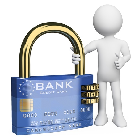 3d white person with a secure credit card padlock  3d image  Isolated white background   photo