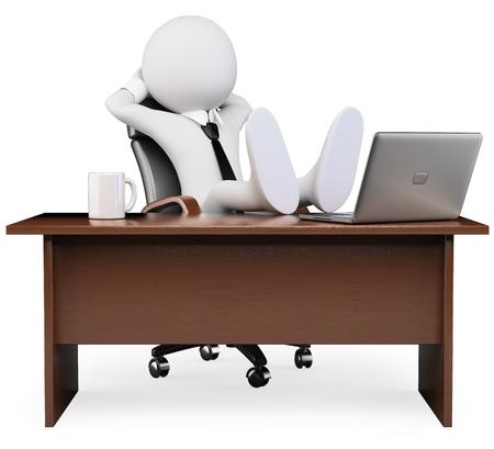사무실 3D 이미지 격리 된 흰색 배경에서 휴식 3D 흰색 비즈니스 사람